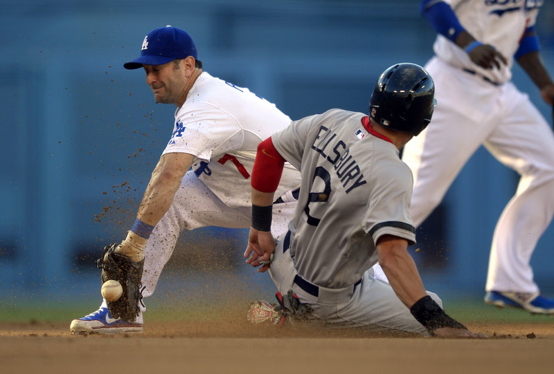 Jacoby Ellsbury slides into second with a stolen base as his former teammate, Dodgers shortstop Nick Punto, fields the throw. Ellsbury leads the majors with 47 steals.
