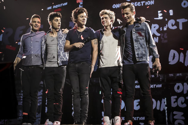 "One Direction – from left, Liam Payne, Zayn Malik, Harry Styles, Niall Horan and Louis Tomlinson – in ""This Is Us."""