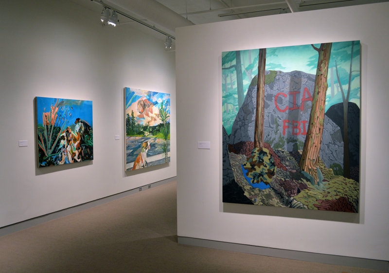 "Works from ""Travel in My Borrowed Lives"" by Sean Downey, near left, and Rachelle Agundes, continuing with ""Monhegan: A New Perspective,"" paintings by Emily Trenholm, and ""Three Chords,"" paintings by Joanne Freeman, through Sept. 21 at the University of Maine Museum of Art in Bangor."