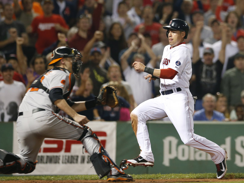 Jacoby Ellsbury races home to score the tying run in the seventh inning as Orioles catcher Matt Wieters waits for a throw.