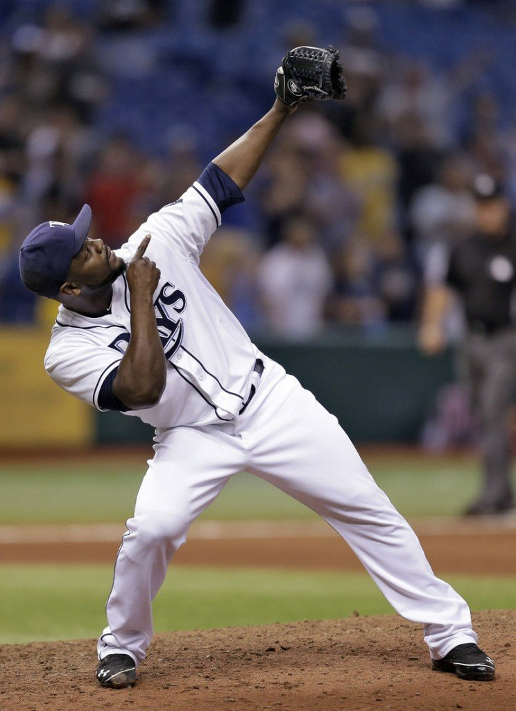 Fernando Rodney celebrates after saving Tampa Bay's 4-1 win over the Angels Wednesday night in St. Petersburg, Fla.