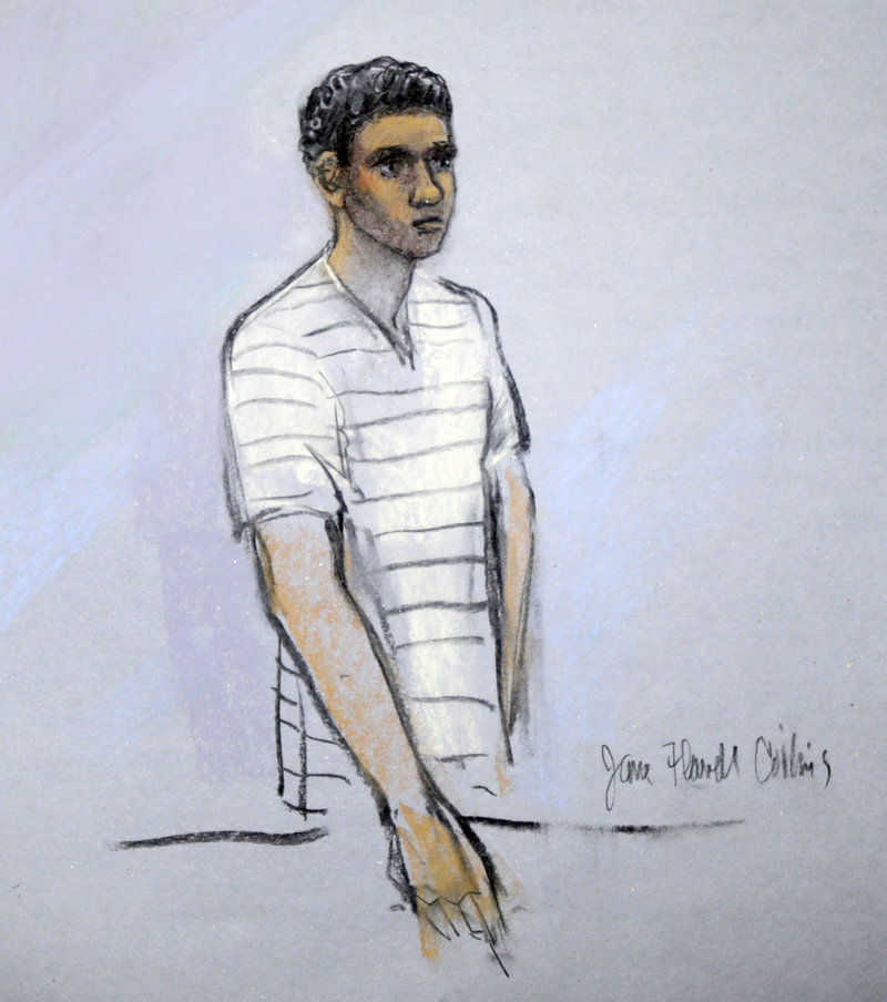 In this Wednesday, May 1, 2013 file photo of a courtroom sketch, Robel Phillipos appears in federal court, in Boston. Phillipos, a friend of Boston Marathon bombing suspect Dzhokhar Tsarnaev, was indicted Thursday, Aug. 29, 2013, for allegedly making false statements to authorities. Prosecutors said he faces up to 16 years in prison in connection with two federal criminal counts. (AP Photo/Jane Flavell Collins)