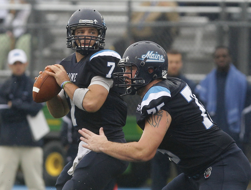 Maine quarterback Marcus Wasilewski throws in an NCAA college football game against New Hampshire last October in Orono. Wasilewsi has matured as a leader, said Coach Jack Cosgrove.
