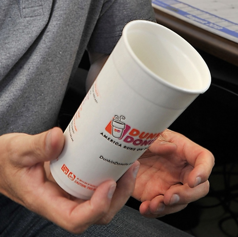 Dunkin' Donuts shops in Freeport and Brookline, Mass., have rolled out new paper cups designed to mimic plastic foam. The Portland City Council withdrew a controversial proposal late Monday, Sept. 16, 2013 that would ban the use of plastic foam containers for retail food sales and service.