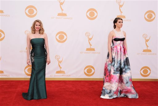 Anna Chlumsky and Zosia Mamet, right, arrive at the 65th Primetime Emmy Awards at Nokia Theatre on Sunday in Los Angeles.