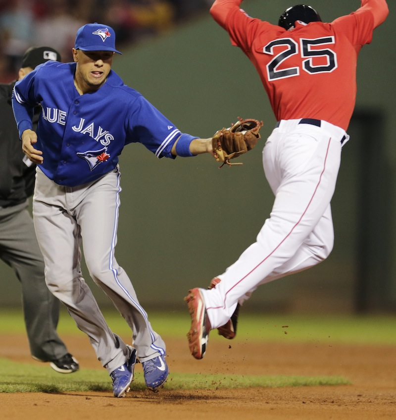Jackie Bradley Jr., right, tries to elude a tag by Toronto Blue Jays second baseman Ryan Goins, who made the play.