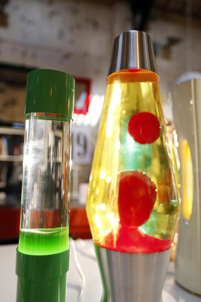 Lava lamps in a shop in London in 2013. The lava lamp, an iconic piece of British design and social trends, is celebrating its fiftieth birthday. Since its launch in 1963, Mathmos lava lamps have been in continuous production at their factory in Poole, UK.
