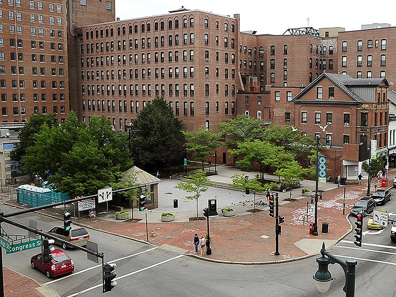 In this August 2013 file photo, Congress Square Plaza in downtown Portland.