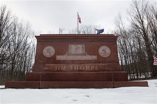 The tomb of Jim Thorpe is shown in Jim Thorpe, Pa., in this January 2010 photo.