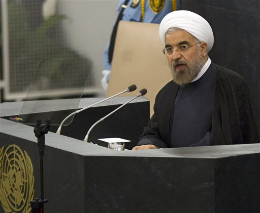 Hasan Rouhani, President of the Islamic Republic of Iran, addresses the 68th United Nations General Assembly at UN headquarters on Tuesday, Sept. 24. (AP Photo/Brendan McDermid, Pool