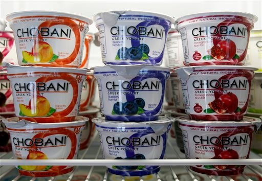 Chobani Greek Yogurt is seen at the Chobani plant in South Edmeston, N.Y. Chobani says it's issuing a recall of some of its Greek yogurt cups that were affected by mold. The recall comes after some customers reported claims of illnesses.
