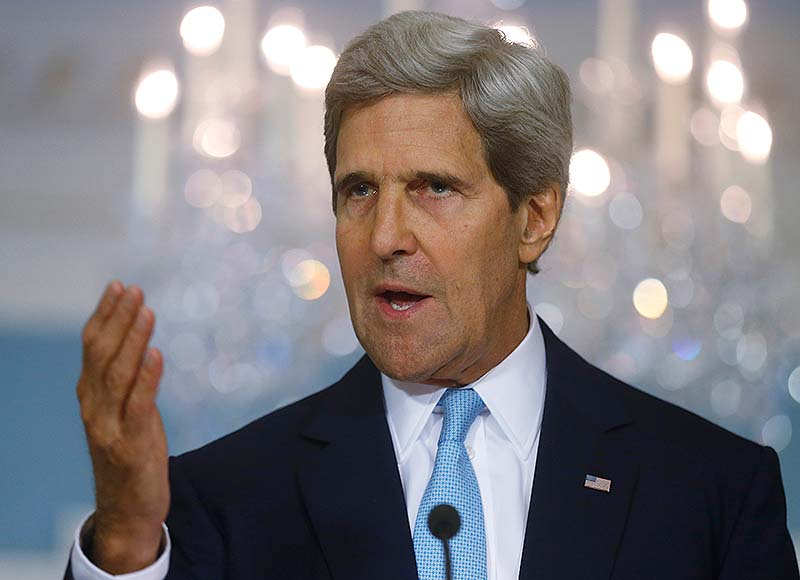 Secretary of State John Kerry makes a statement about Syria at the State Department in Washington. Kerry said in a series of interviews on news shows on Sunday that the United States now has evidence of sarin gas use in Syria through samples of hair and blood provided to Washington by first responders in Damascus.
