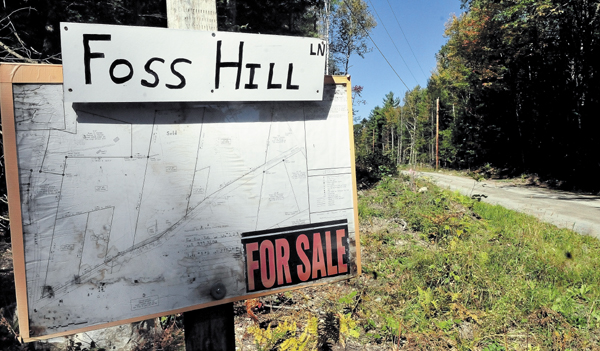 A sign at the end of the Foss Hill Lane in Rome lists several properties for sale.
