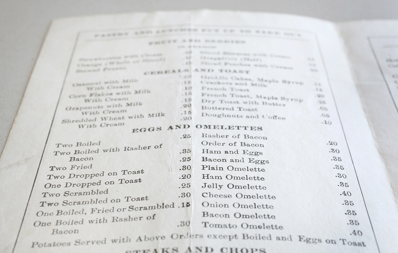 The menu from Elder's Lunch at 71 Oak St. in Portland shows how the price of breakfast has changed over the years (bacon omelette, 35 cents, for example.)