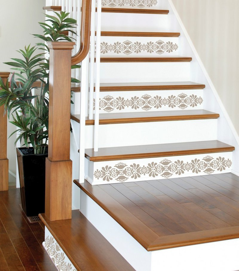 Decals, like these from WallPops on stairs, add personality to rented homes and can be easily removed.