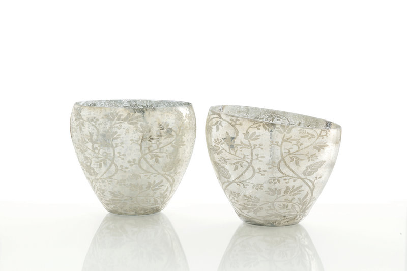 Naples vases from Arteriors, with a soft floral and vine design on mercury glass, are available at Laylagrayce.com.