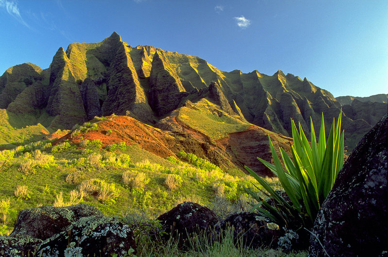 The Kalalau Trail on Kauai, the oldest of Hawaii's major islands, passes through the Kalalau Valley as well as rainforests.