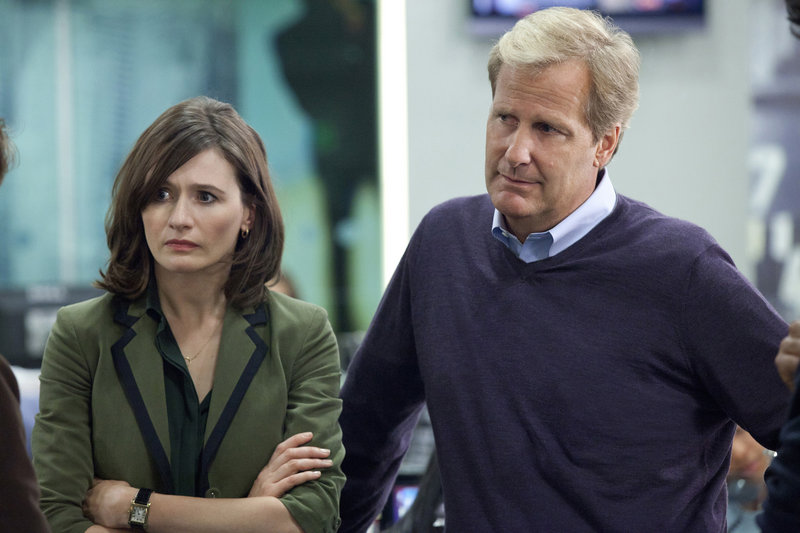 "Emily Mortimer and Jeff Daniels in ""The Newsroom."""