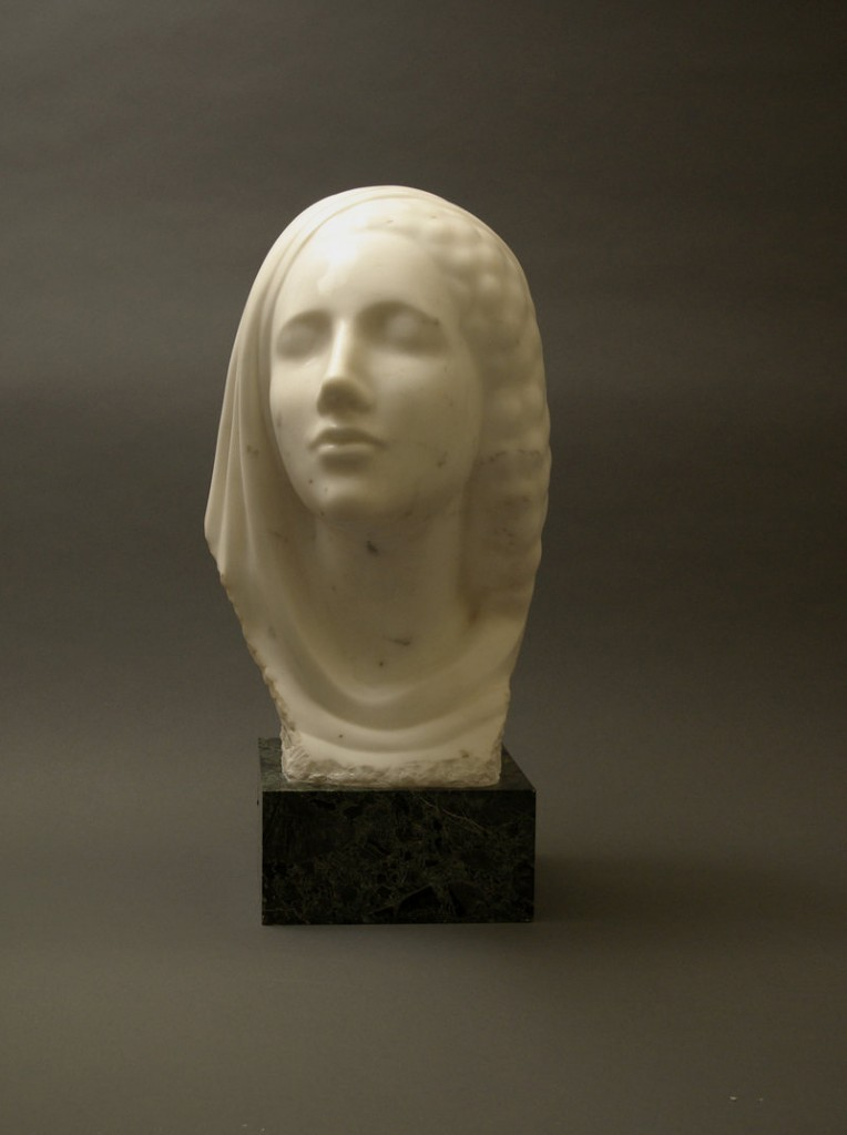 "Elie Nadelman's ""Idealized Head,"" c. 1910-15, marble, original onyx base."