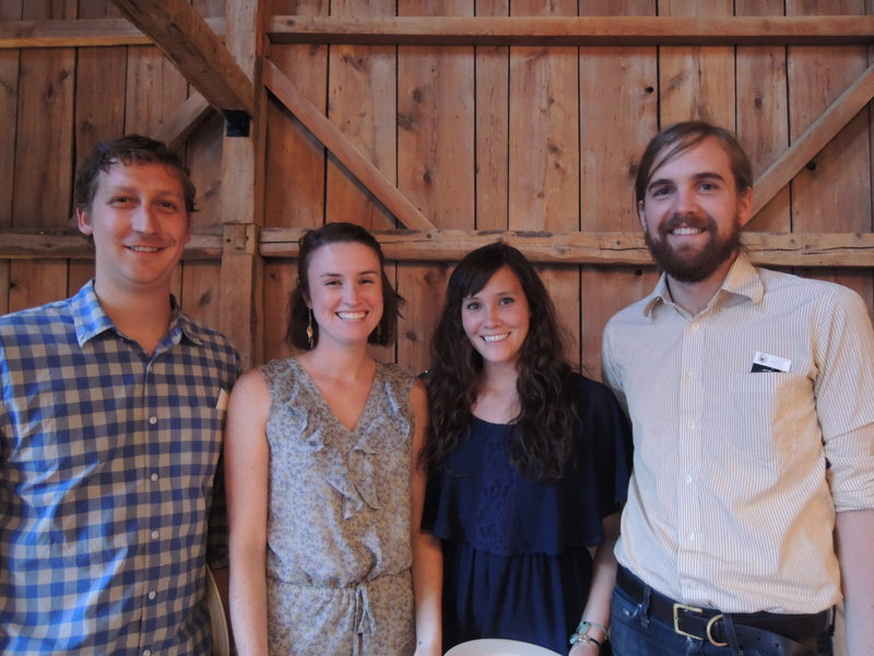 Marshall Ripley, left, Emily Broadbent, Molly Broadbent and Dan Whitmore at the farm-to-table dinner at The Barn at Flanagan Farm in Buxton to benefit Creative Work Systems.