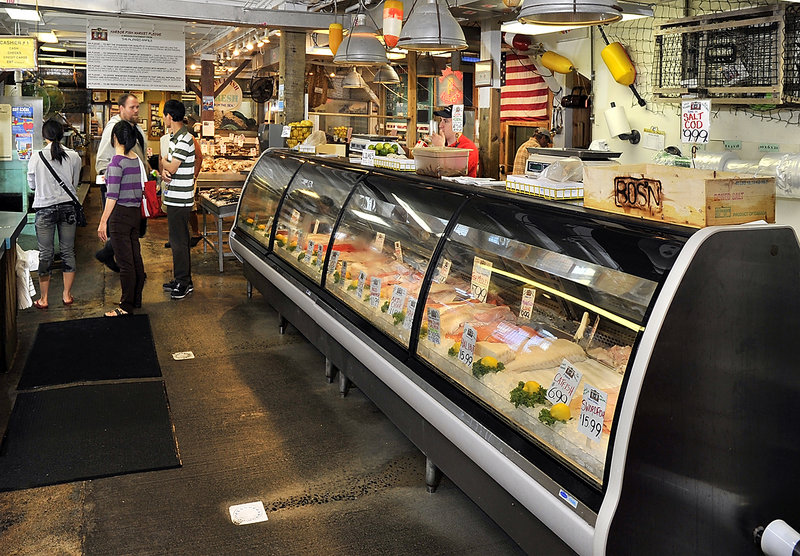 One of the large coolers displaying fresh seafood on the floor of Harbor Fish Market.