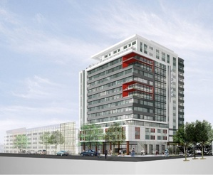 "An artist's rendering of the first phase of the Bayside apartment and retail complex known as midtown. A critic of the project says that it would permanently alter ""the face of Portland."""