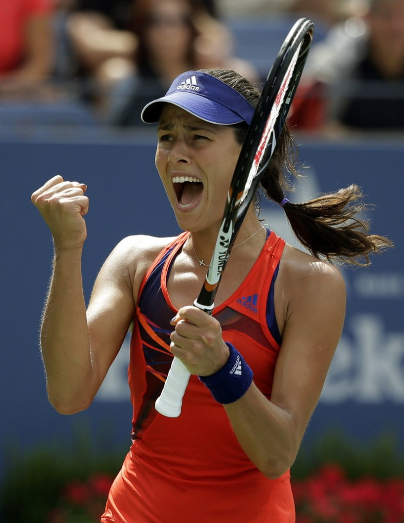 Ana Ivanovic of Serbia celebrates Saturday after she rallied for a 4-6, 7-5, 6-4 victory over unseeded American Christina McHale to reach the fourth round of the U.S. Open.