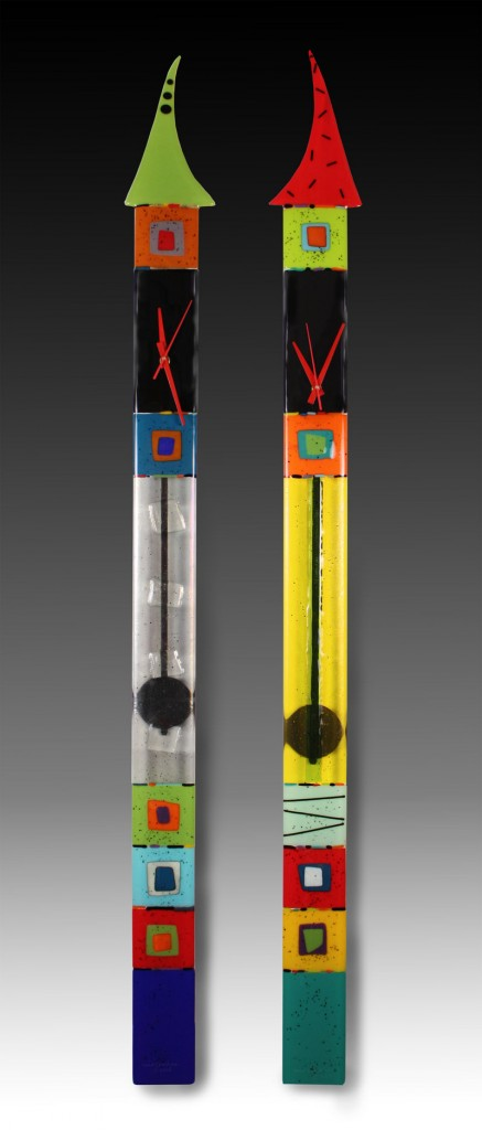 Nina Cambron, an artist based in Detroit, fuses opaque, translucent and iridescent glass into totem-like pieces.