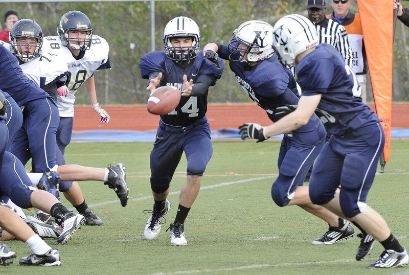 Yarmouth's Brady Neujahr starts his fourth season at quarterback. He played on championship teams his first two years and last season passed for close to 1,000 yards and scored six touchdowns.