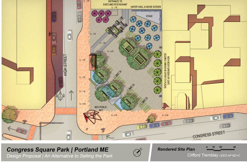 Clifford Tremblay also sketched this earlier proposal for Congress Square shortly after moving to Portland in early 2013. This version did not include provisions for a new event center attached to the hotel.
