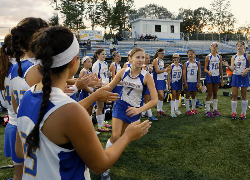 Leika Scott (7) is part of a veteran cast for Falmouth, which is one of several field hockey teams affected by the Maine Principals' Association's new classification enrollment figures.