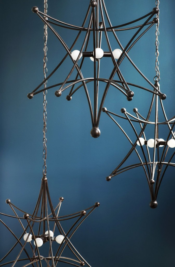 This geometric metal pendant light by Crystorama is a stunning addition to an entryway.