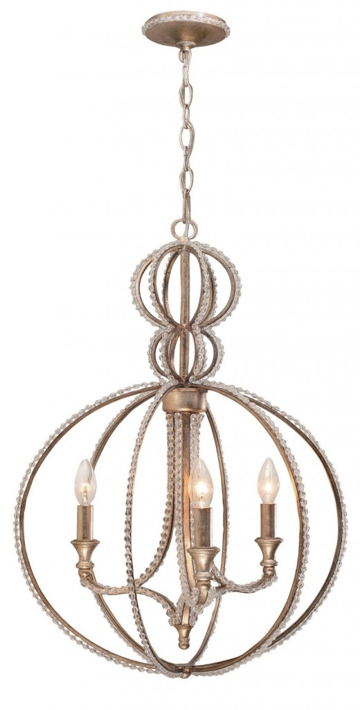 The complex gold finish on Crystorama's Garland chandelier brings an updated look to a traditional shape.