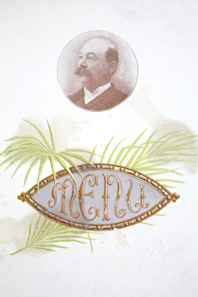 A menu from The Gerald (circa 1900) in Brunswick features a photo of owner W.J. Bradbury.