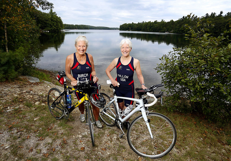 Beth Birch, left, and Ann Dillon, members of the U.S. triathlon team, train for the world sprint event in London. Photographed in Gray on September 7, 2013.