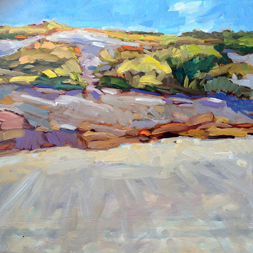 """Rocks at Trundy Point"" by John Santoro from ""New Works"" at Elizabeth Moss Galleries in Falmouth."