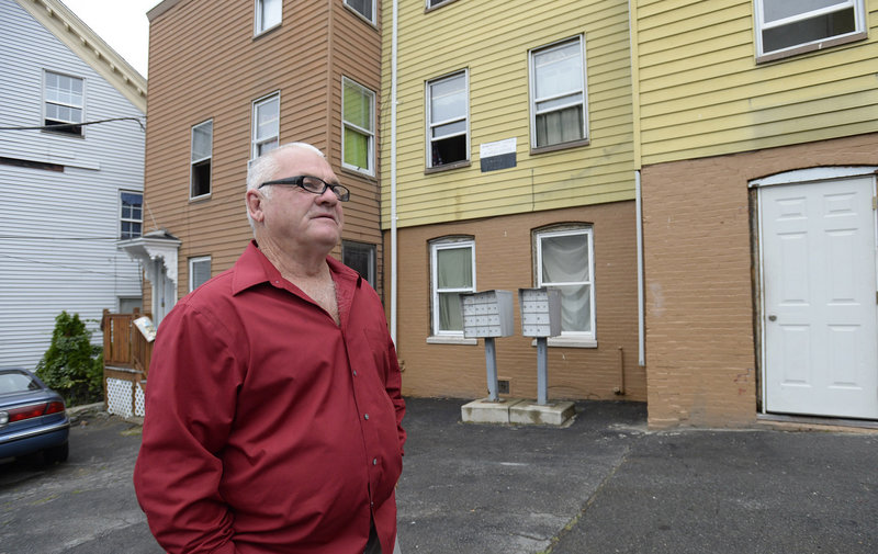Donald Philippe Chamberland, 62, of Portland, talks about Section 8 housing outside his apartment at the corner of Alder and Oxford St. in Portland Tuesday, Sept 10, 2013. Chamberland uses section 8 vouchers and says he would be homeless without them.