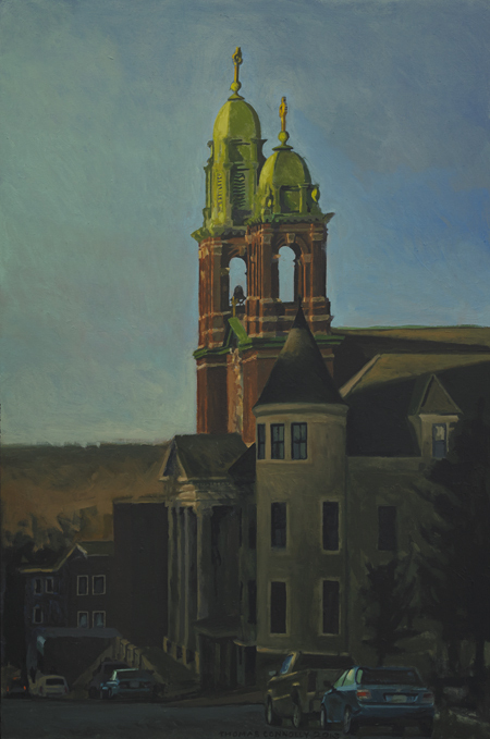 """""""Sacred Heart,"""" oil on panel by Thomas Connolly, from """"Ensemble,"""" the exhibition of his work continuing through Sept. 28 at Greenhut Galleries in Portland."""