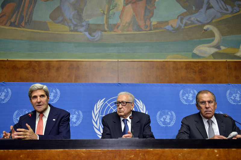 Secretary of State John Kerry, from left, U.N. Joint Special Representative for Syria Lakhdar Brahimi and Russian Foreign Minister Sergei Lavrov hold a news conference following a meeting in Geneva, Switzerland, on Friday.