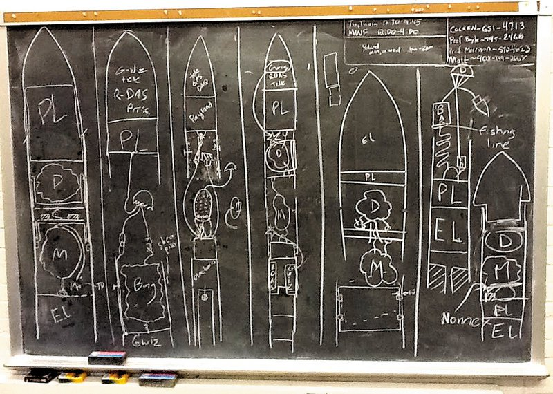 Team Ursa's rocket project is shown in an early chalkboard concept from 2012.
