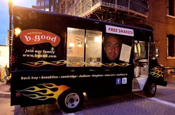 """Harvey,"" b.good's truck, will be handing out free shakes at the Exchange Street franchise's grand opening on Sept. 26."