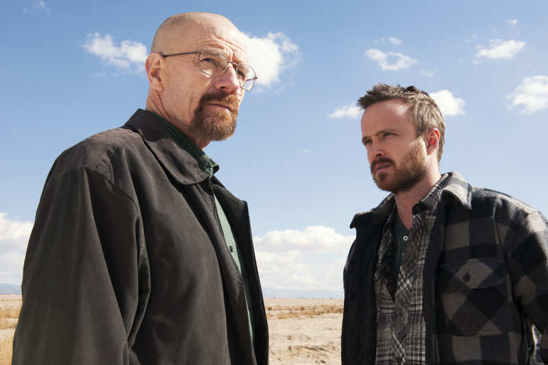 "Bryan Cranston and Aaron Paul in ""Breaking Bad."""