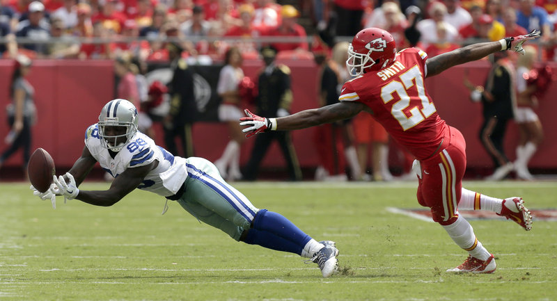 The Associated Press Dallas receiver Dez Bryant caught nine passes last week, but a couple drops, including this one with Sean Smith defending, might have cost the Cowboys the game.