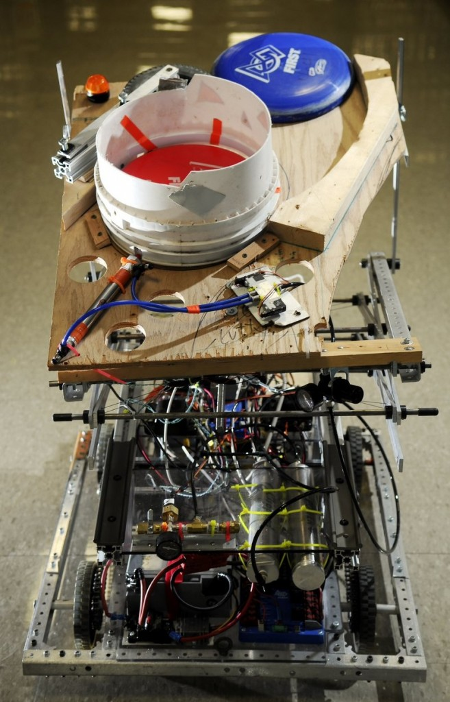 The Gardiner Area High School robotics team assembled this disc throwing robot, one of many projects makers will showcase.