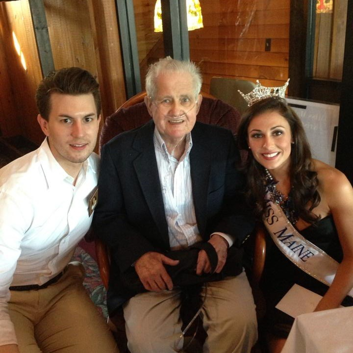 Real Paquette sits with his grandson, Andrew Miller Korda, and his granddaughter, Kristin Korda at the Miss Maine Sendoff in late August of this year.