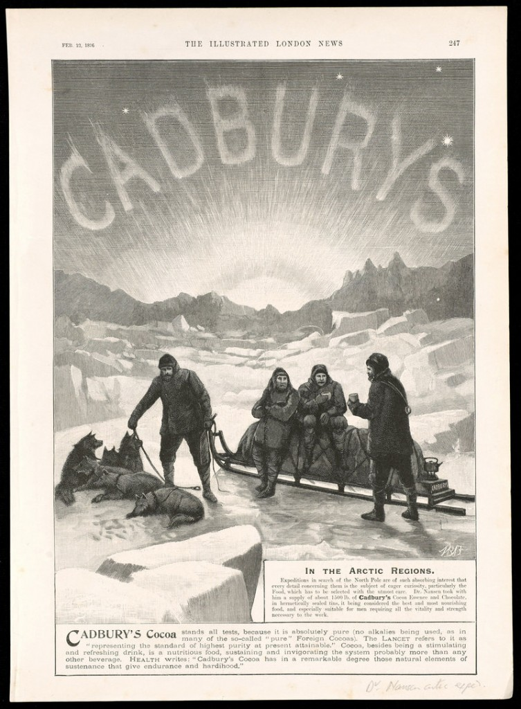 """In the Arctic Regions,"" Cadbury's cocoa advertisement from the Illustrated London News (London, Feb. 22, 1896), is part of the Osher exhibition that includes maps, books, charts, photos and other artifacts spanning the recorded history of polar exploration."