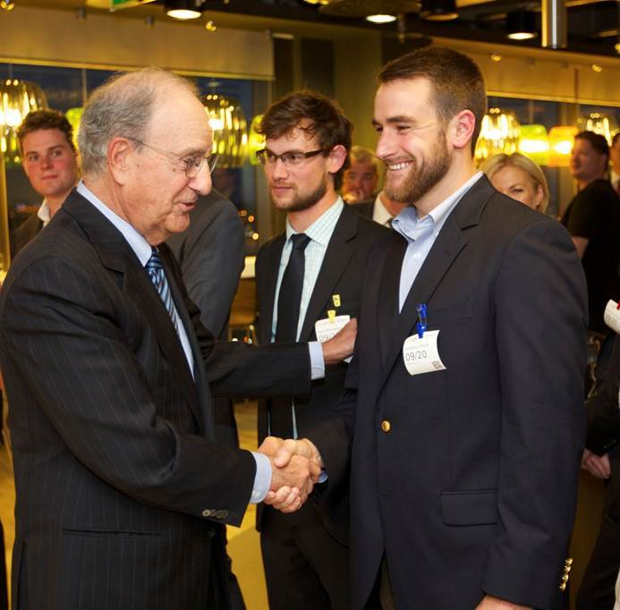 Former Sen. George J. Mitchell meets Jonathan Poole at Google headquarters in Dublin, Ireland. Poole, son of Charlie and Elizabeth Poole of Yarmouth, is a 2013 graduate of the U.S. Naval Academy and recently began a year of study at University College Cork as a Mitchell Scholar.