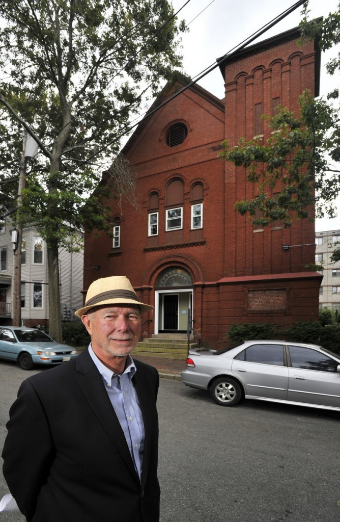 Richard Berman stands in front of the former church on Sherman Street in Portland that has been transformed into a shelter called Hope House.