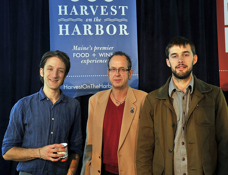 Maine's Best Farm to Table Restaurant finalists, from left: chefs David Levi from Vinland in Portland; Kerry Altiero from Cafe Miranda in Rockland; and Chad Conley from Gather in Yarmouth. Chef Richard Hanson from Cleonice Mediterranean Bistro in Ellsworth, also a finalist, was absent.