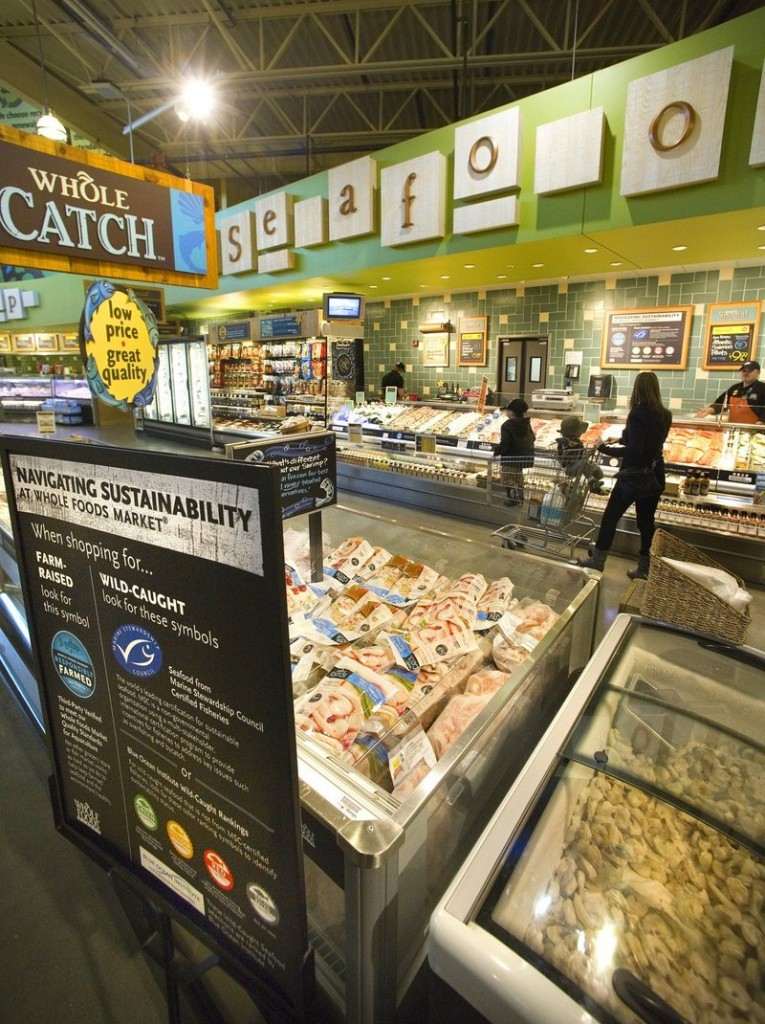 Portland's Whole Foods has a sustainable seafood program, where a color-coded sign indicates each fish's level of sustainability.